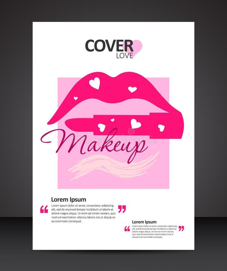 Mall för design för makeupskönheträkning med kanter och läppstift royaltyfri illustrationer