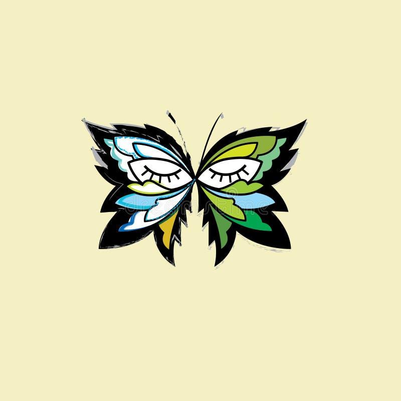 Mall för design för modevektorlogo Lyxigt emblem som bakgrund är svart, kan fjärilen funktionsläget för logotypen för logoen för  royaltyfri illustrationer