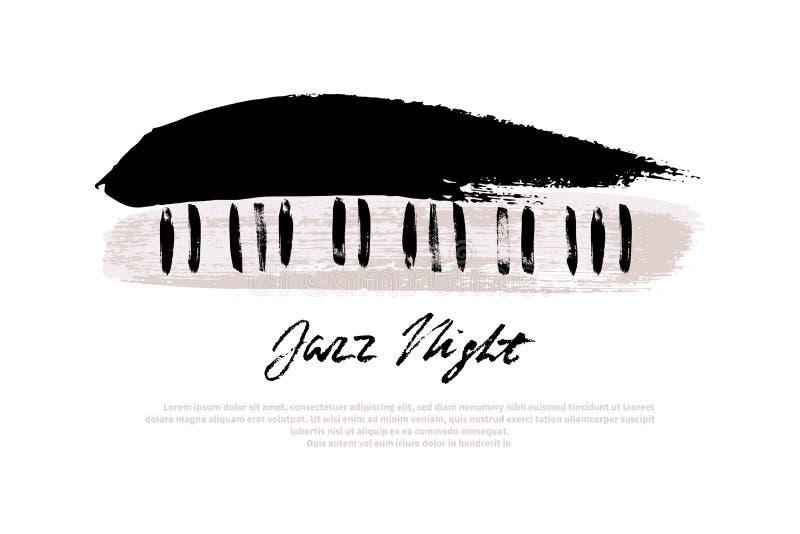Mall för design för musikfestival Vektorpiano som målas med borsteslaglängder och Jazz Night text på vit bakgrund vektor illustrationer