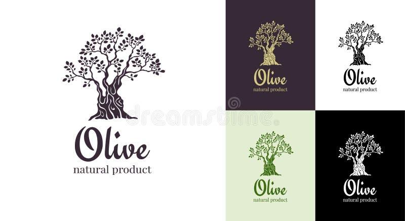 Mall för design för olivträdvektorlogo för olja Trädolivkontur vektor illustrationer