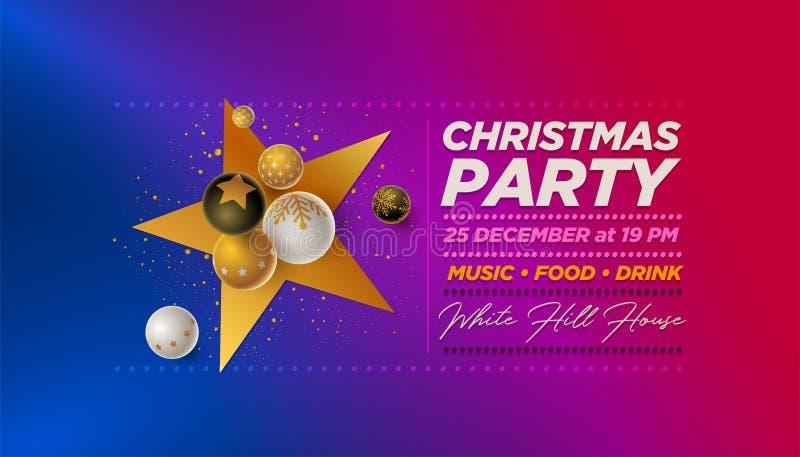 Mall för design för parti för glad jul royaltyfri illustrationer