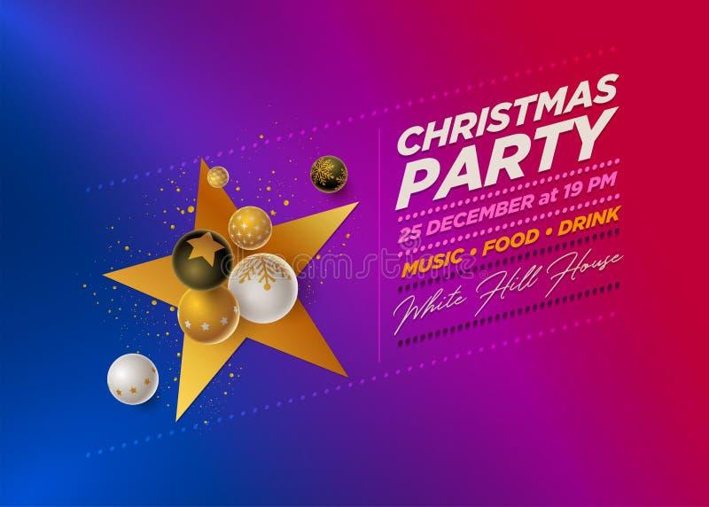 Mall för design för parti för glad jul stock illustrationer