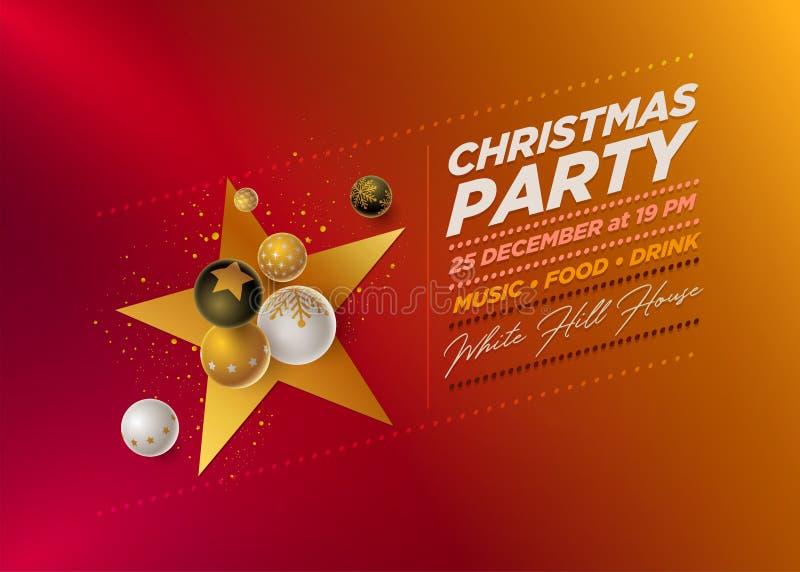 Mall för design för parti för glad jul vektor illustrationer