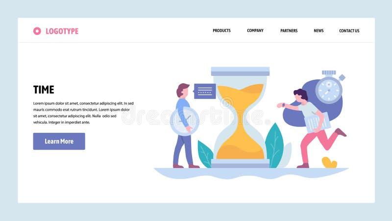 Mall för design för PVector webbplatslutning Ledning för för affärsprojektstopptid och tid Landa sidabegrepp för vektor illustrationer