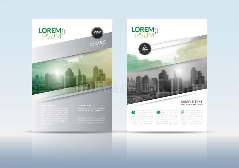 Mall för design för reklamblad för årsrapporträkningsbroschyr royaltyfri illustrationer