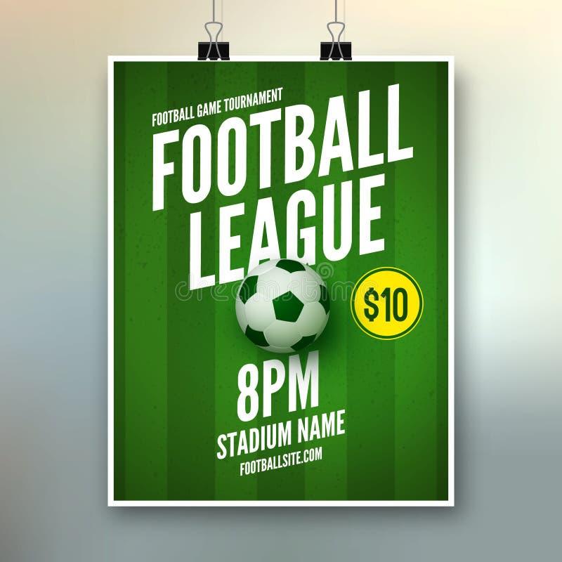 Mall för design för reklamblad för fotbollliga Sportar för fotboll för fotbollaffischinbjudan stock illustrationer
