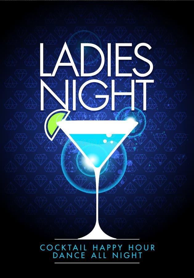 Mall för design för reklamblad för natt för damer för lycklig timme för vektorillustrarionparti med coctailexponeringsglas och mo royaltyfri illustrationer