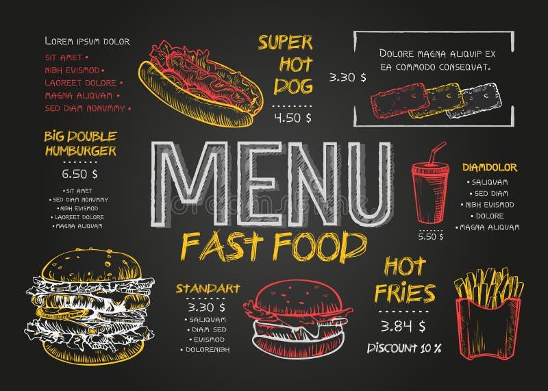 Mall för design för restaurangmatmeny med svart tavlabakgrund Menyn för snabbmat för tappningkritateckningen i vektor skissar stock illustrationer
