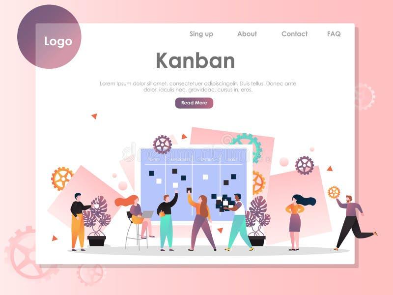 Mall för design för sida för landning för Kanban vektorwebsite vektor illustrationer
