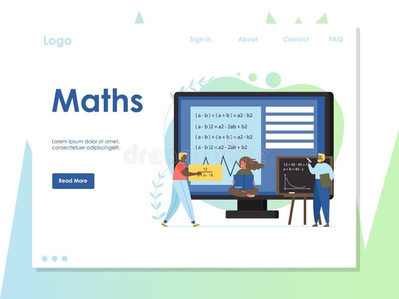 Mall för design för sida för landning för matematikvektorwebsite stock illustrationer