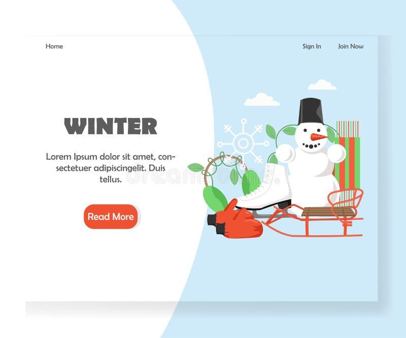 Mall för design för sida för landning för vintervektorwebsite vektor illustrationer
