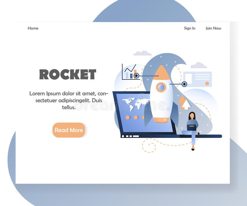 Mall för design för sida för landning för website för affärsraketvektor royaltyfri illustrationer