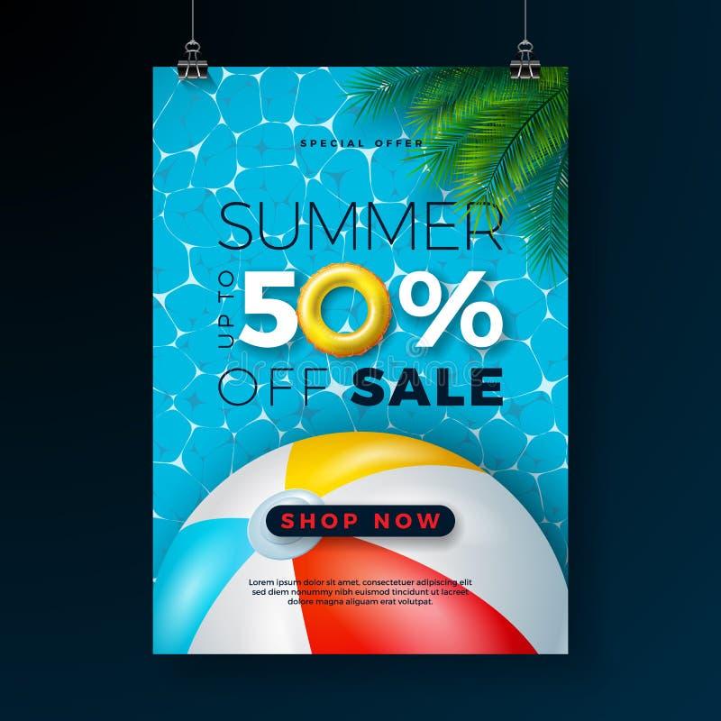 Mall för design för sommarSale affisch med flötet, strandbollen och tropiska palmblad på blå pölbakgrund exotiskt stock illustrationer