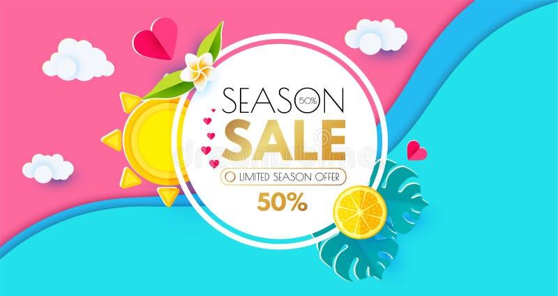 Mall för design för sommarSale orientering Pappers- konst Säsongerbjudandebaner med cirkelbanret, citrus, Plumeria, sjöstjärna, s stock illustrationer
