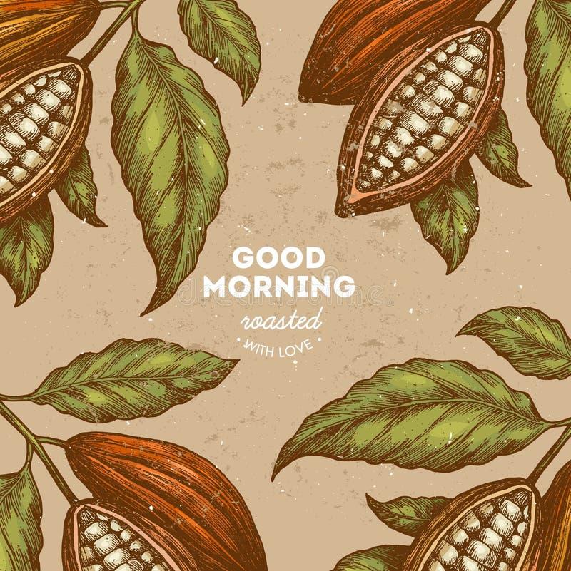 Mall för design för tappning för kakaoböna Inristad stilillustration Chokladkakaobönor också vektor för coreldrawillustration vektor illustrationer