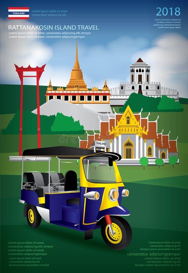 Mall för design för Thailand Bangkok loppaffisch stock illustrationer