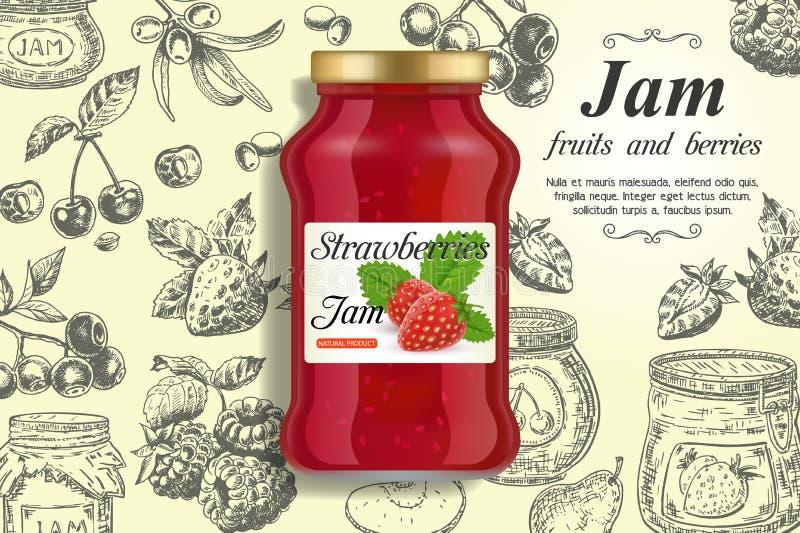 Mall för design för vektor för annonser för jordgubbedriftstopp royaltyfri illustrationer