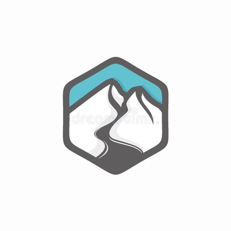 Mall för design för vektor för bergemblemlogo stock illustrationer