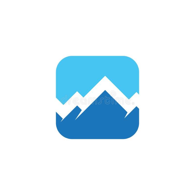 Mall för design för vektor för högt maximum för berglogo royaltyfri illustrationer
