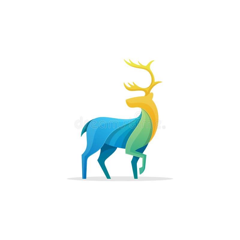 Mall för design för vektor för illustration för begrepp för full färg för karibu stock illustrationer