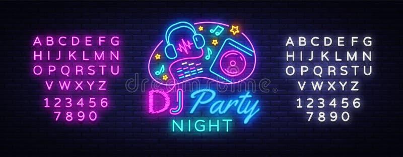 Mall för design för vektor för tecken för neon för discjockeymusikparti discjockeybegrepp av musik, radion och direkt konserten,  stock illustrationer