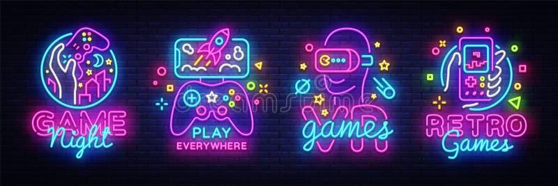 Mall för design för vektor för tecken för neon för videospellogosamling Begreppsmässiga Vr spelar, den Retro modiga nattlogoen i  royaltyfri illustrationer