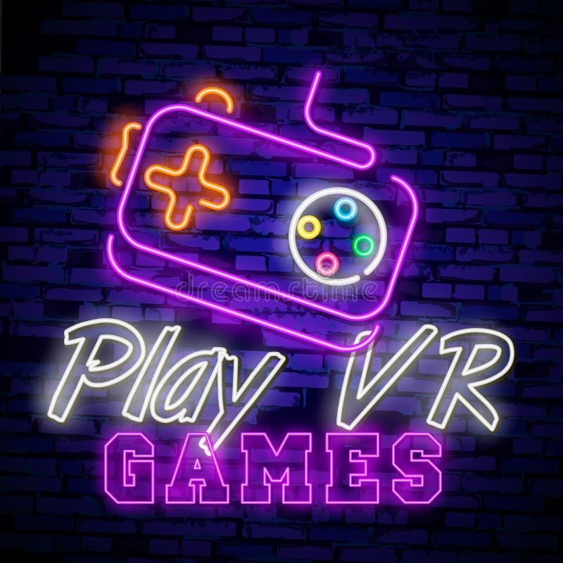 Mall för design för vektor för tecken för neon för videospellogosamling Begreppsmässiga Vr spelar, den Retro modiga nattlogoen i  vektor illustrationer
