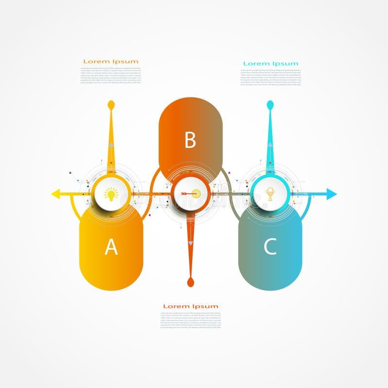 Mall för design för vektorInfographics etikett med alternativ 3 eller moment royaltyfri illustrationer