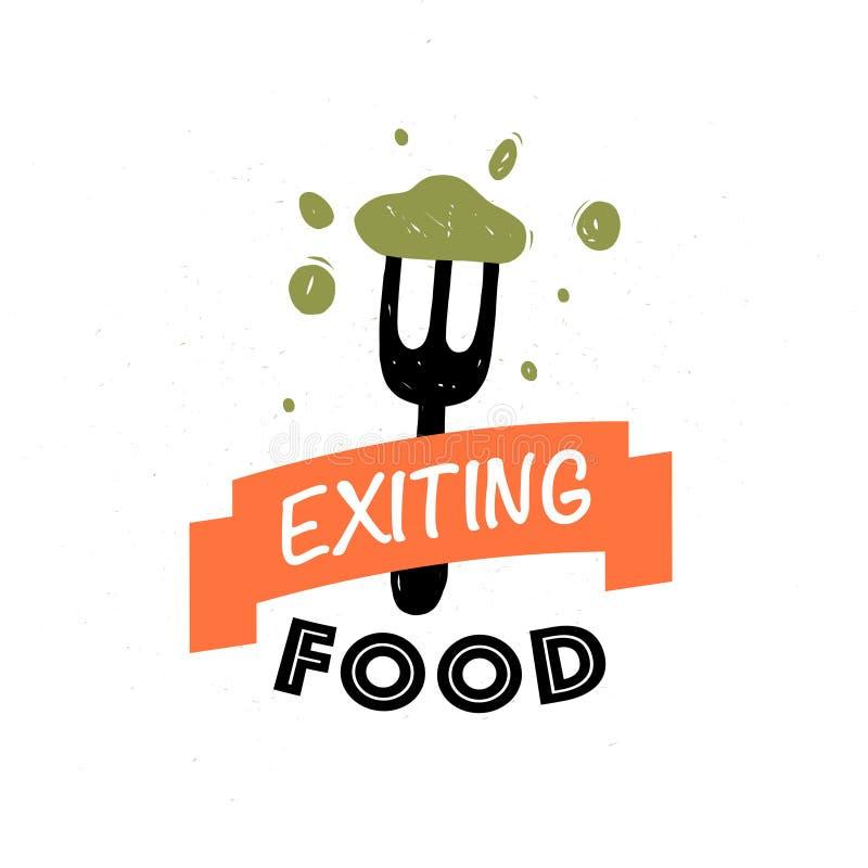 Mall för design för vektormatlogo: text band, gaffel, smaklig mat som isoleras på vit bakgrund stock illustrationer