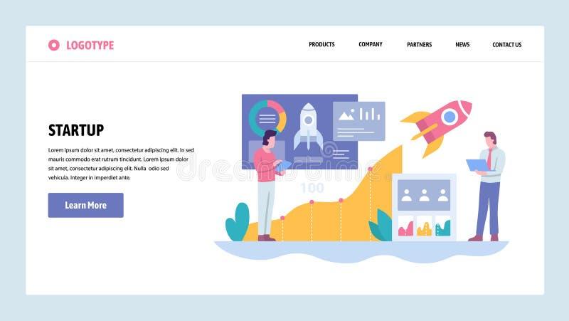 Mall för design för vektorwebbplatslutning Affärsteknologisratrup Rocket Launch Landa sidabegrepp för website royaltyfri illustrationer