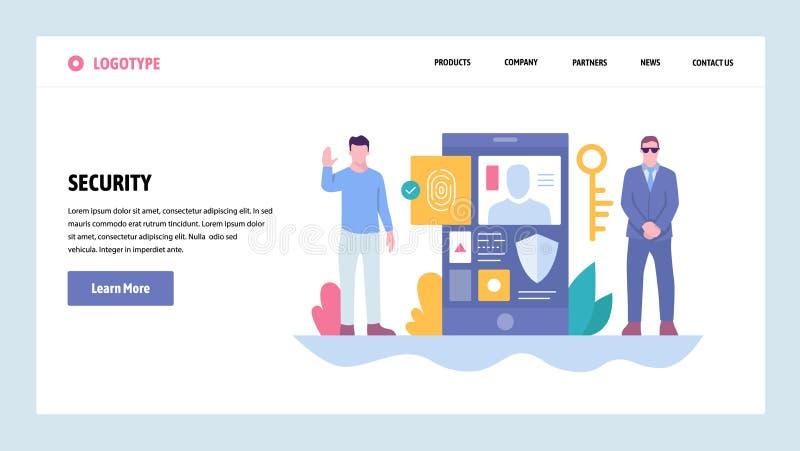 Mall för design för vektorwebbplatslutning Cybersäkerhet och säkert tillträde Mobiltelefonfingeravtryckinloggning Landa sidan vektor illustrationer