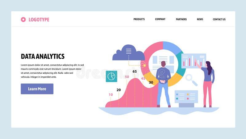Mall för design för vektorwebbplatslutning Dataanalytics, instrumentbräda och affärsfinansrapport Landa sidabegrepp royaltyfri illustrationer