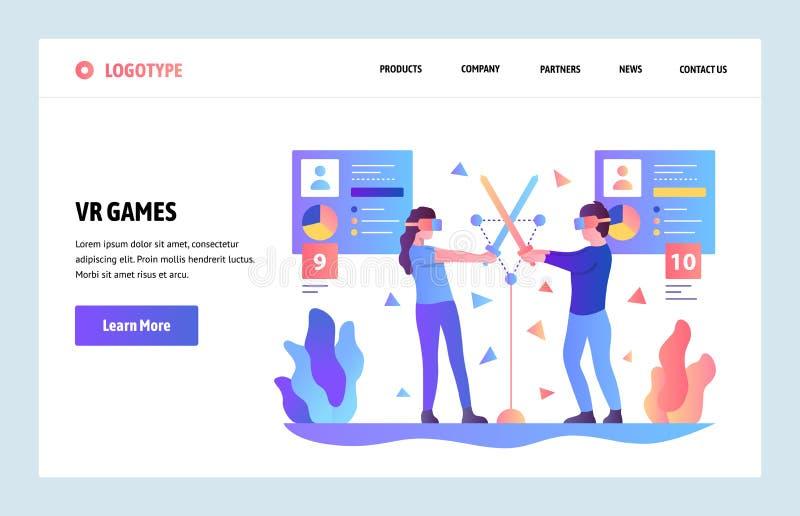 Mall för design för vektorwebbplatslutning Faktisk VR och ökade verklighetlekar och applikationer Landa sidabegrepp stock illustrationer