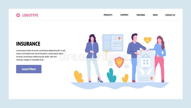 Mall för design för vektorwebbplatslutning Familjhus, bil och vård- medicinsk livförsäkring Landa sidabegrepp för stock illustrationer