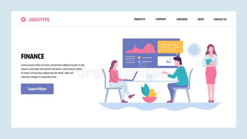 Mall för design för vektorwebbplatslutning Finansiell rapport och presentation samtal för möte för bärbar dator för skrivbord för stock illustrationer