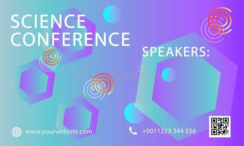 Mall för design för vetenskapskonferensaffär Möte för advertizing för marknadsföring för vetenskapsbroschyrreklamblad - Mappen fö stock illustrationer
