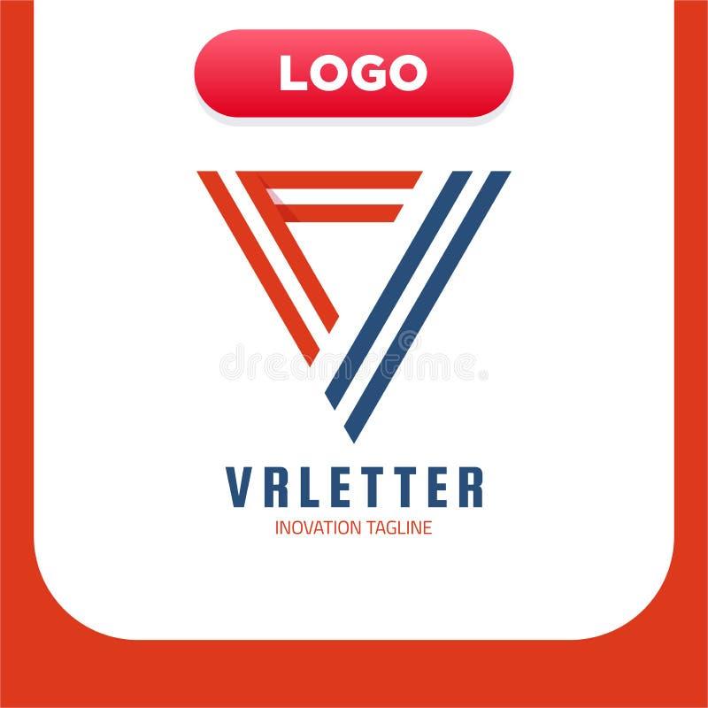 Mall för design för VR-monogramlogo Illustration för vektorvirtuell verklighetlogotyp Färgrik linje triangeltypografi Grafisk cyb vektor illustrationer