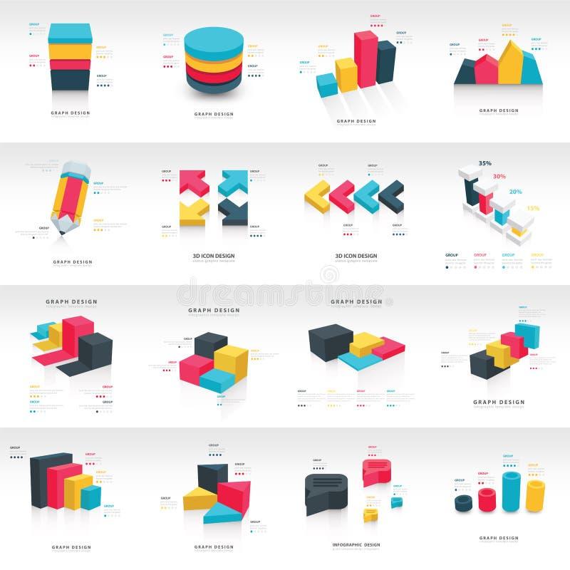Mall för diagram för information om grafdesign 3d royaltyfri illustrationer