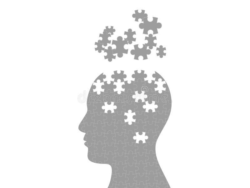 Mall för diagram för mening för pusselhuvud exploderande vektor illustrationer