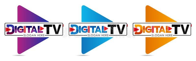 Mall för Digital TVlogo Massmediaföretagslogo eller filmproduktionstudio eller audiovisuellt on-line massmedia för studio eller T stock illustrationer