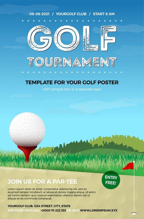 Mall för din golfaffisch med bollen och gräsplan stock illustrationer