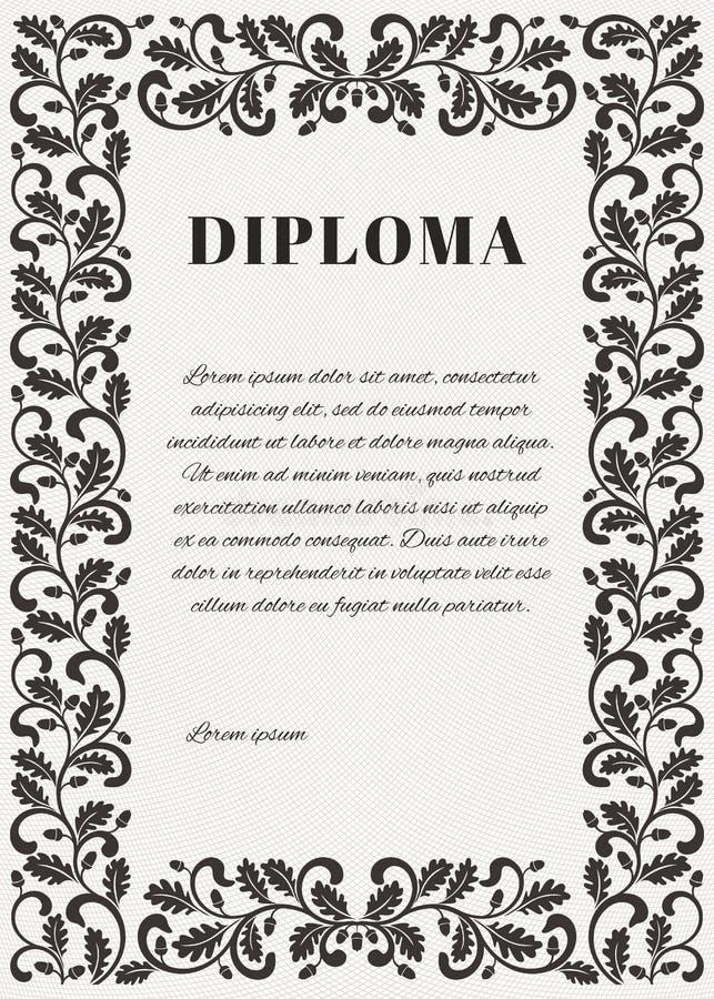 Mall för diplom med Guillochebakgrundsraster och den utsmyckade ramen vektor illustrationer