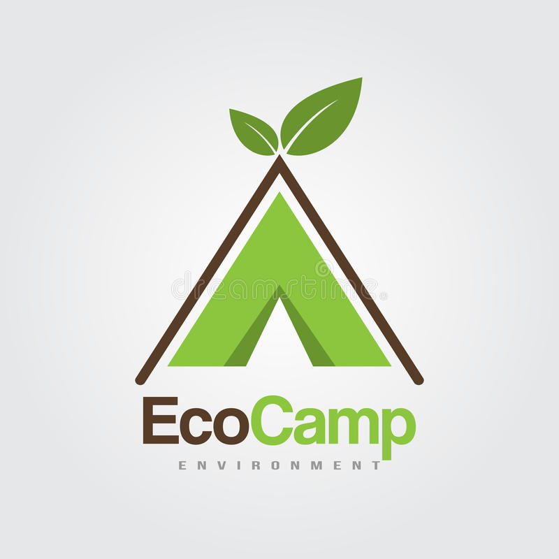 Mall för Eco lägerlogoer royaltyfria bilder