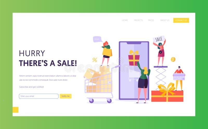 Mall för EcommercelagerSale Website Kvinnan shoppar online-användande Smartphone E-kommers Consumerism, återförsäljnings- begrepp royaltyfri illustrationer