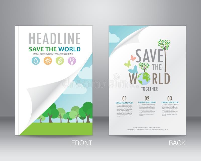 Mall för ekologibroschyrdesign, vektor royaltyfri illustrationer