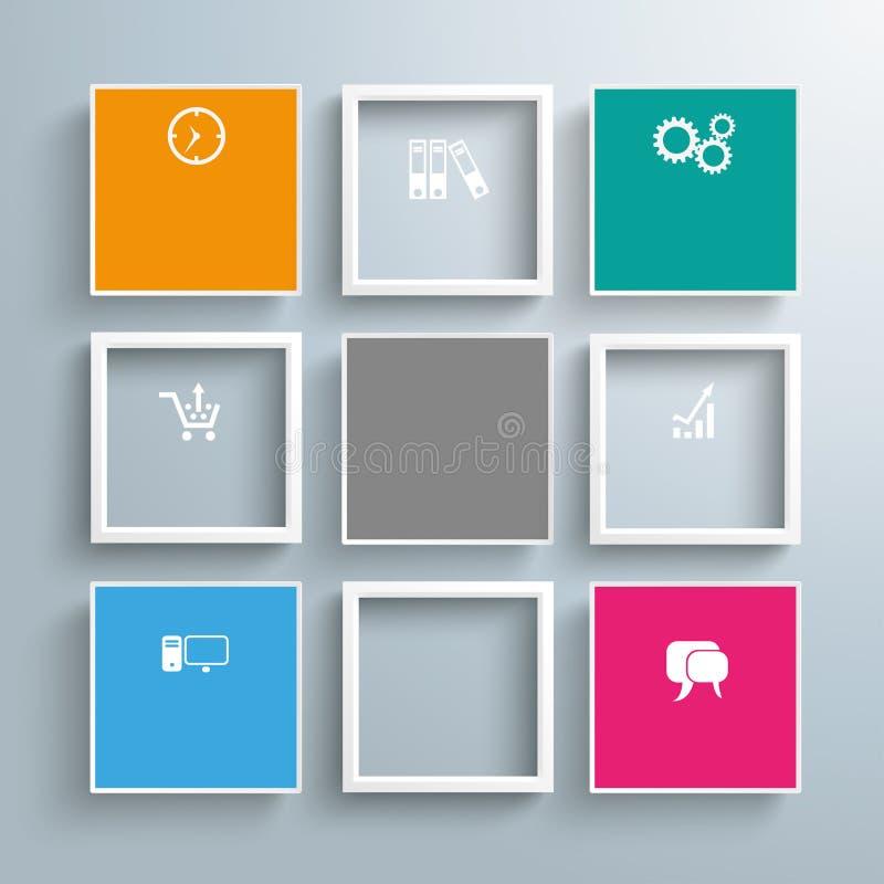 Mall för 5 färgad ramar för fyrkanter 4 royaltyfri illustrationer