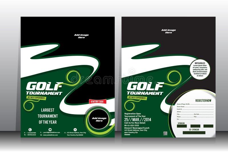 Mall för för golfturneringreklamblad & broschyr royaltyfri illustrationer