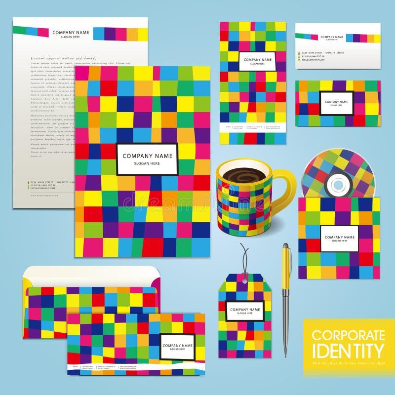 Mall för företags identitet för affär med färg- och abstrakt begreppbac stock illustrationer