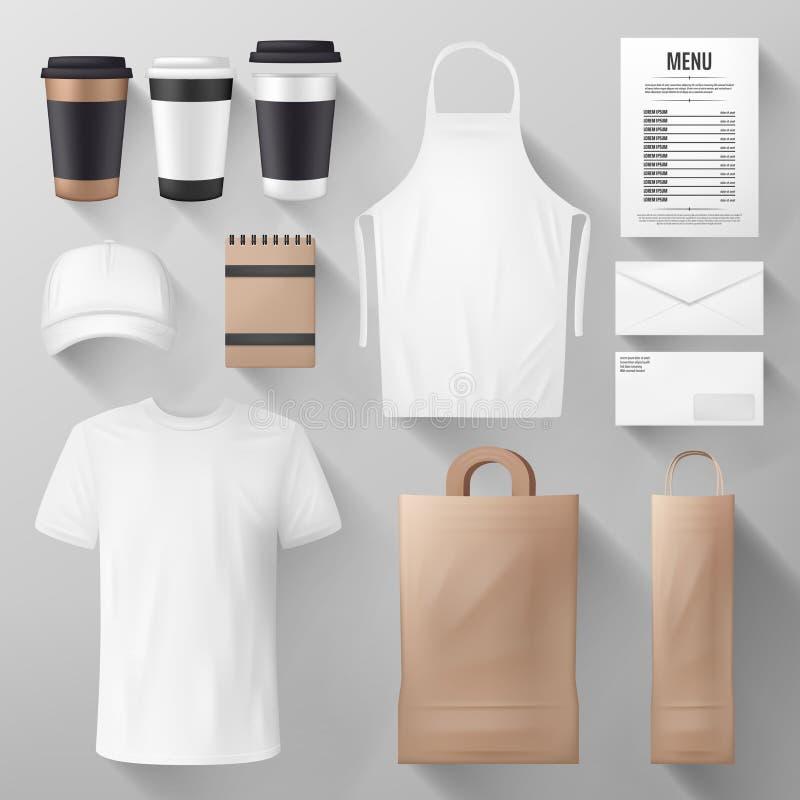 Mall för företags identitet för restaurang och för kafé stock illustrationer