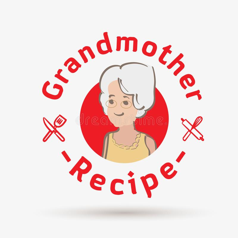 Mall för farmorreceptlogo logo för restaurang eller hemlagat laga mat - vektor stock illustrationer